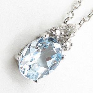 Aquamarine and 925 silver pendant